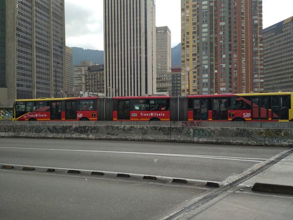 Transmilenio bus on the Bogota street